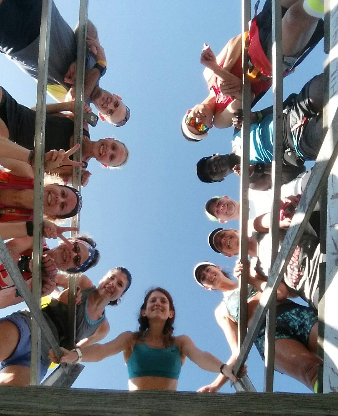 New friends looking down from the fire tower