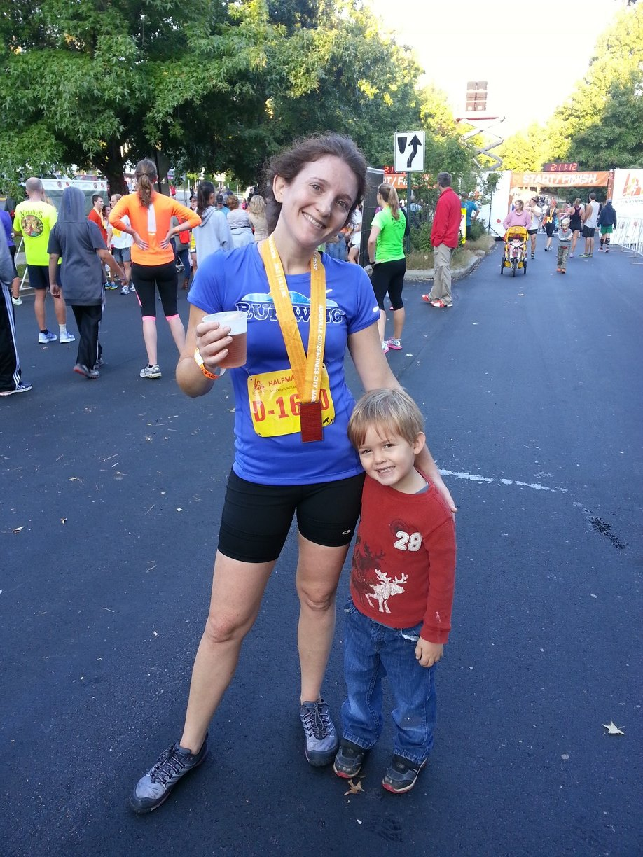 At the finish line of the Asheville Half Marathon in September 2013