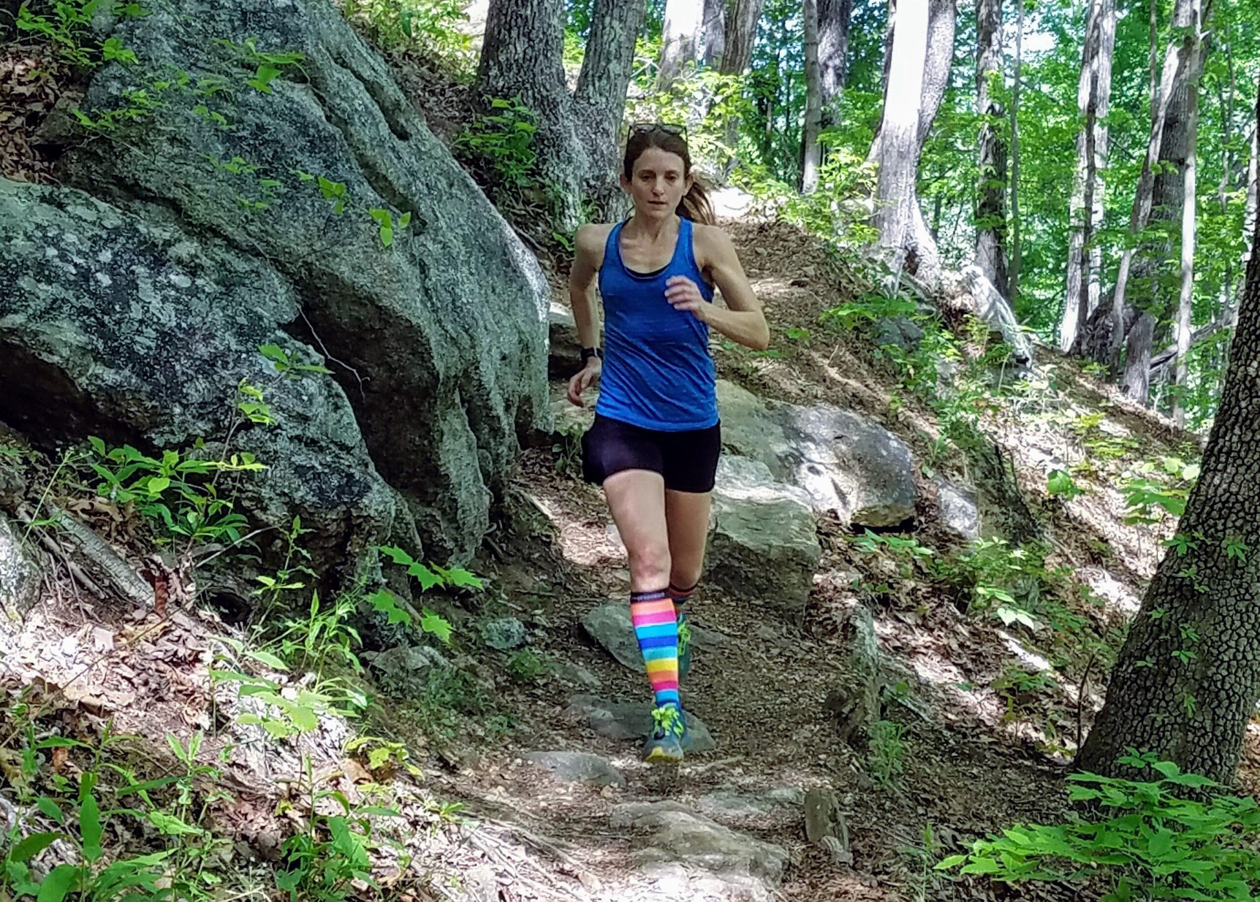 claire bartholic, trail running downhill