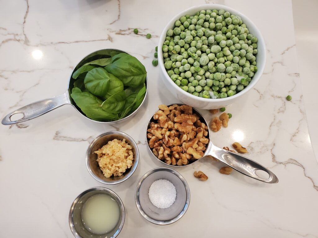 oil free vegan green pea walnut pesto